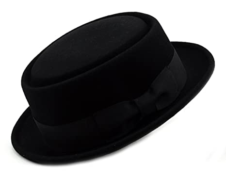 NYFASHION101 Mens Crushable Wool Felt Porkpie Hat w Feather HE09 Bk-S M 0f060dfd869c