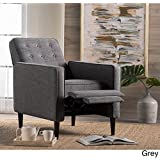 Home Modern Upholstered Mervynn Mid-Century Button Tufted Fabric Recliner Club Chair with Solid Wood Legs in Dark Espresso Finish Grey