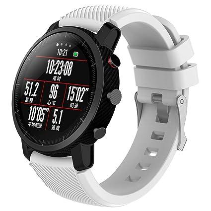 LANSKIRT Suave Silicagel Correa de Reloj Deportivo Recambio Brazalete Extensibles Pulsera para HUAMI Amazfit Stratos Smart