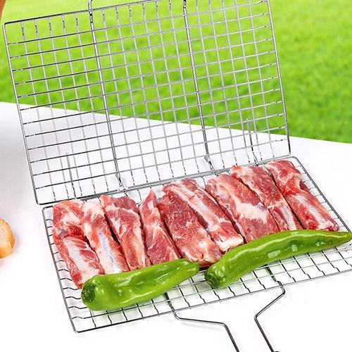VINIKING Portable Stainless Steel Grill Baskets with Removable Wooden Handle, Perfect BBQ Grilling Cookware for Indoor and Outdoor Cooking by VINIKING (Image #4)