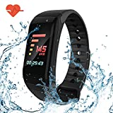 Fitness Tracker Smart Bracelet with Color Screen - Smart Wristband with Heart Rate Monitor Wireless Waterproof IP67 Bracelet HR Wrist Strap Track Step Sleep IOS and Android Smartphone (Black)