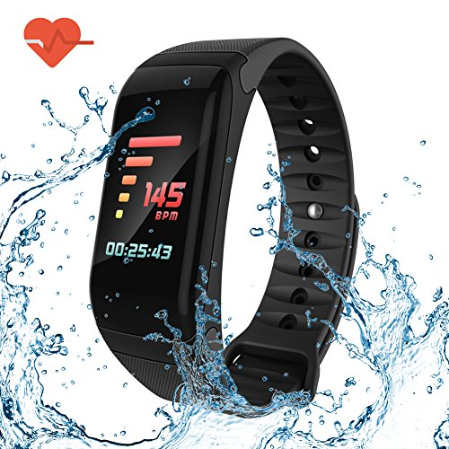 greatall Fitness Tracker/Smart Bracelet with Color Screen,Smart Wristband with Heart Rate Monitor Wireless Waterproof IP67 Bracelet HR Wrist Strap Track Step Sleep IOS and Android Smartphone (Black) Bracelet Wristband Usb