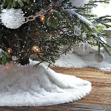 Amazoncom Christmas Tree Skirt Plush Shaggy Faux Fur White Round
