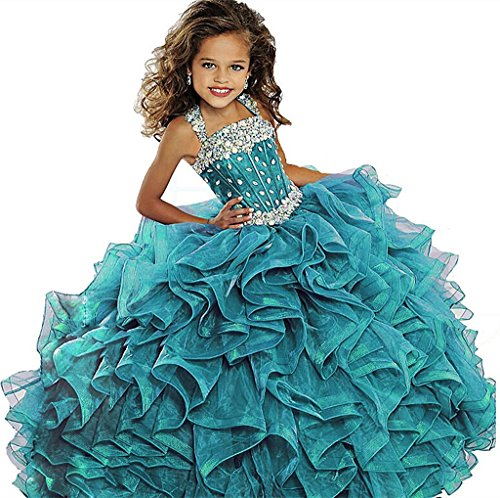 Y&C Girls Crystal Beaded Ruffled Party Christmas Ball Gown Princess Pageant Dress 06 US Turquoise (Christmas Pageant Dresses)