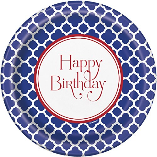 Hamptons Quatrefoil Birthday Dinner Plates