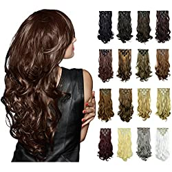 FESHFEN 20 Inch 7 Pcs 16 Clips Curly Hair Extensions Long Synthetic Clip in Hair Extensions Full Head Hair Pieces for Women 4.6oz/130g - 1001# White