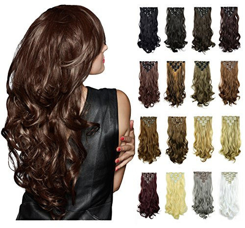 FESHFEN 20Inch 7Pcs 16Clips Full Head Clip in Hair Extensions Long Curly Synthetic Hair Extensions Hairpieces for Women 130g(171# Silver Grey)