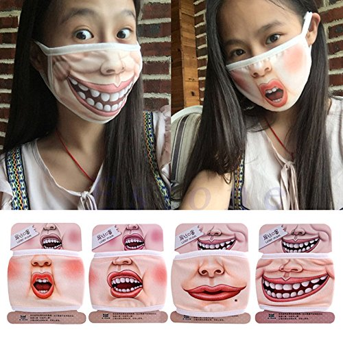 [Smartchef 3D Funny Expression Face Cotton Mouth Mask Anti-Dust Mouth-muffle Respirator Hot] (Smiley Movie Mask)