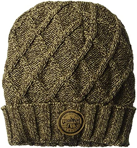 Wigwam Men's Seine Cable Knit Fleece Lined Beanie Hat, Dark Brown, One Size