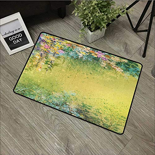 (Buck Haggai Entry Way Shoes Scraper Patio Rug Flower,Spring Foliage with Leaves Hand Drawn Aesthetic Inspiring Envrionmental Friendly Picture, Green,for Kitchen Dining Living Hallway Bathroom 30