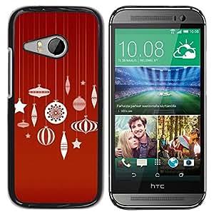 TopCaseStore / la caja del caucho duro de la cubierta de protección de la piel - Merry Red White Decorations - HTC ONE MINI 2 / M8 MINI