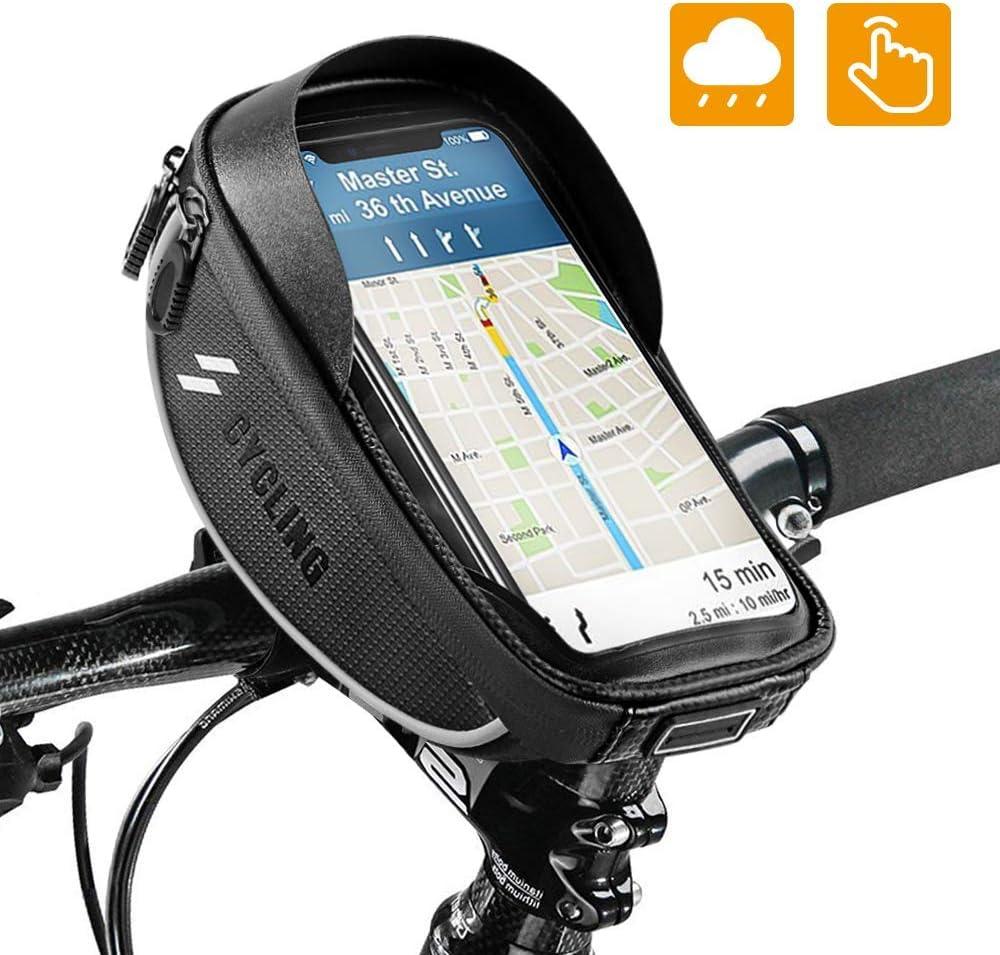 OUNDEAL Bolsa Cuadro Bicicleta, Bolsa Manillar Bicicleta con Pantalla Táctil Sensible, Bolsa Bicicleta para Teléfono Inteligente por Debajo de 6,5 Pulgadas