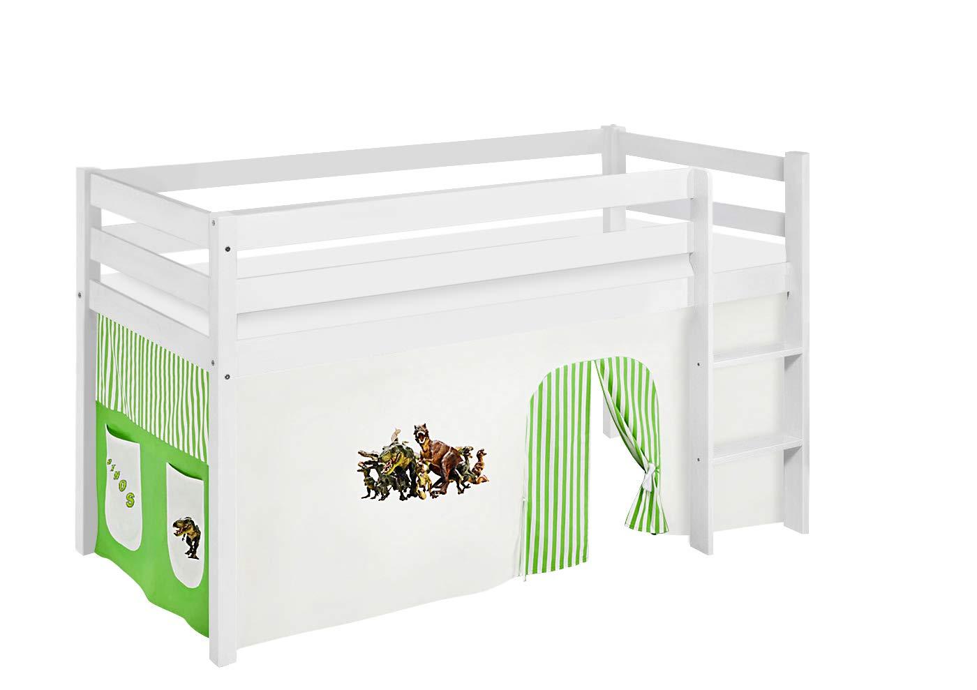 Lilokids JELLE2054KW-DINOS-GRUEN Spielbett Jelle Dinos, Hochbett mit Vorhang Kinderbett, Holz, grün beige, 208 x 98 x 113 cm