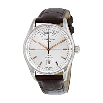 ee2bee088 Image Unavailable. Image not available for. Color: Certina DS 1 Day Date  Automatic Silver Dial Brown Leather Ladies Watch C0064301603100
