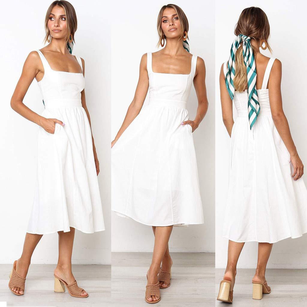 05f3ed6df Vestidos de Fiesta Mujer Largos Elegantes Mosstars Vendimia Color sólido  Mujer Bolsillo Midi Vestido Vendaje Vestidos Vestido Largo Mujer Fiesta  polleras ...