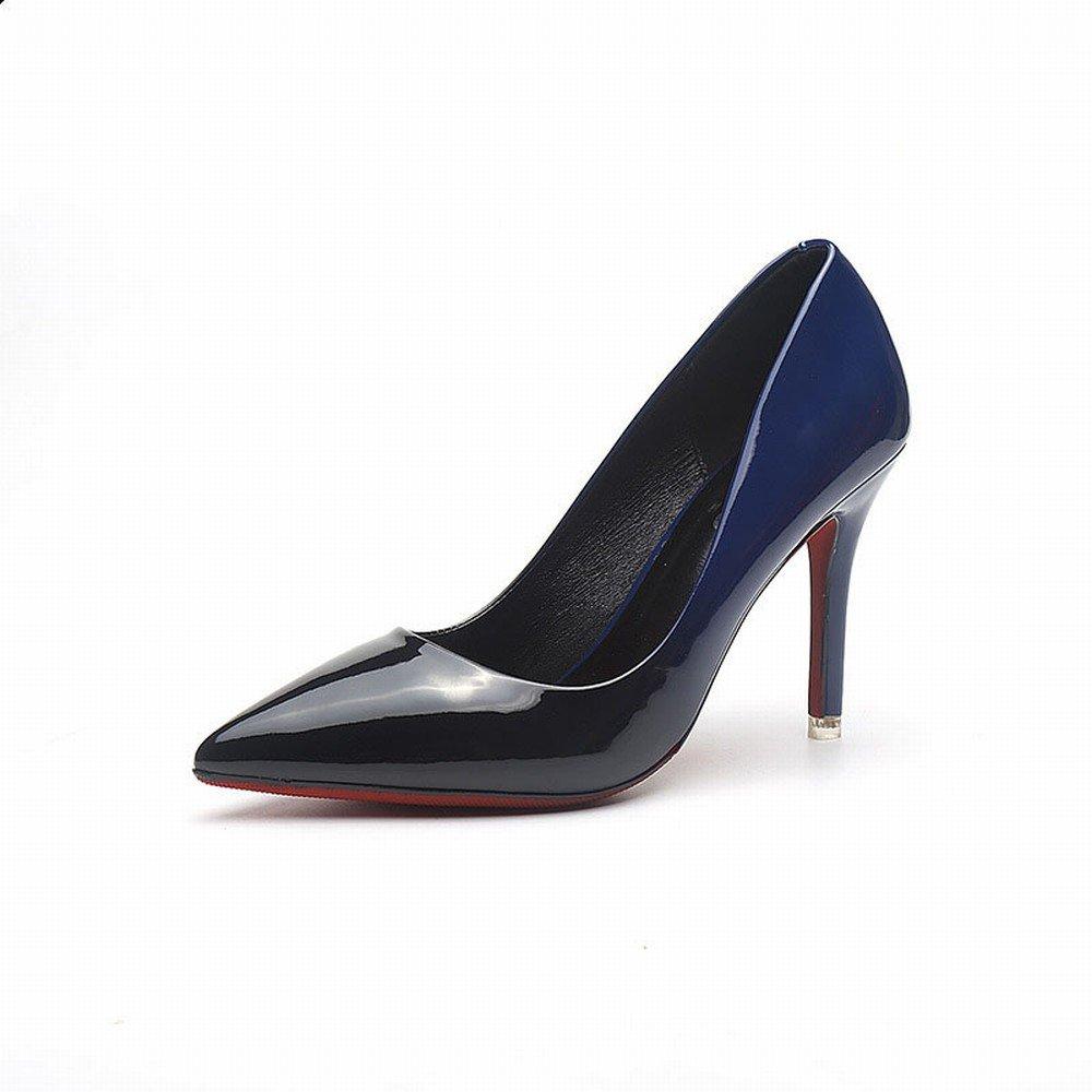 CXY Spring-Western Spitzen Spitzen Flachen High Heels Lackleder Mode Farbe Lackleder Heels Dünn mit Wilden Trendy Schuhe C mit Hohem 9.5CM 35 dcded9