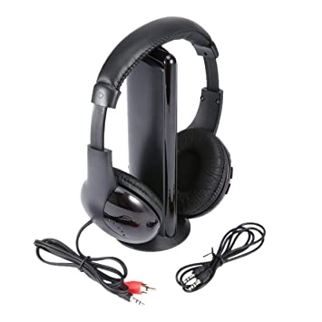 5 en 1 HiFi Auriculares inalámbricos Música Auriculares Estéreo Auriculares Radio FM Monitor para MP3 PC TV Audio Teléfonos móviles Tableta PC: Amazon.es: ...