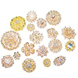 Gold Brooches for Weddings, Assorted Rhinestone Brooches for Bridal Brooch Bouquets and Crafts (100)