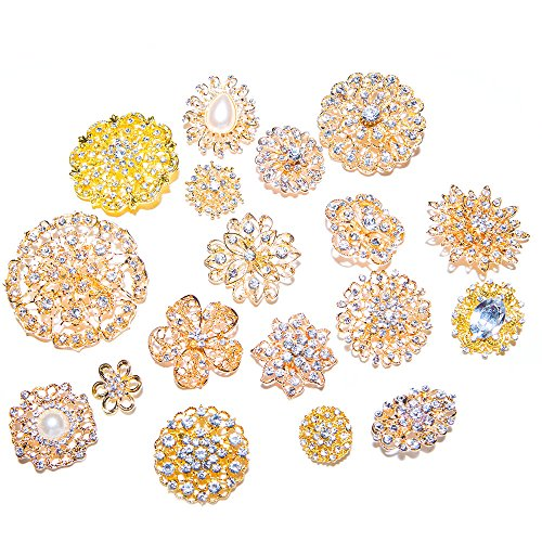 Gold Brooches for Weddings, Assorted Rhinestone Brooches for Bridal Brooch Bouquets and Crafts (100) by Totally Dazzled