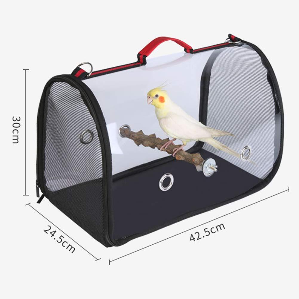 LLtidmsWL Bird Travel Bag Portable Pet Bird Parrot Carrier Transparent Breathable Travel Cage Tote Bag Black+Red by LLtidmsWL