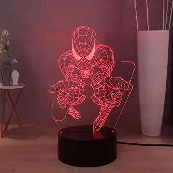 Laysinly Spider-Man 3D Visual Table Lamp, Marvel Superhero LED Night Lamp, 7colorful USB Touch Desk Lamp, Novelty Kids Bedroom Sleeping Lamp, Creative The Avengers Moon Light, Children's Birthday Gift