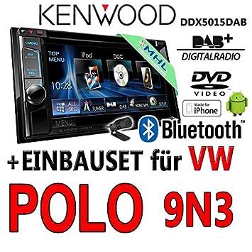 Kenwood Radio für VW Polo 9N3 Autoradio Bluetooth USB Apple Android Einbauset