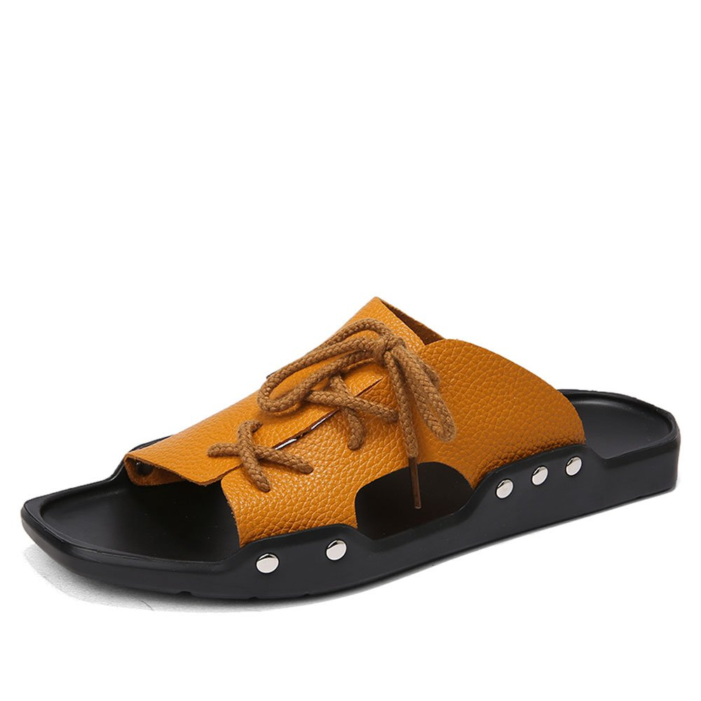 CJZHE Men's Summer New Non-Slip Sandals Personalized Fashion Beach Slippers (8 B (M) US, Yellow-B)