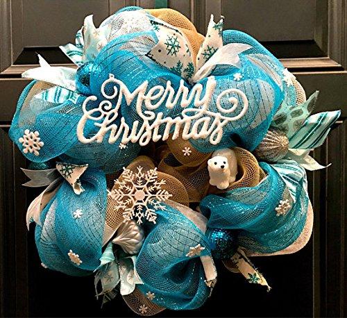 christmas wreath whimsical wreath teal wreath blue christmas wreath snowflake wreath - Blue Christmas Wreath
