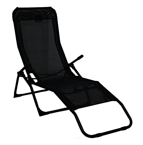 Rocker Lounger Black Sun Chair Recliner Outdoor Garden Furniture Folding  Chair