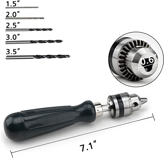 0.6-6MM DIY Manual Hand Drill Tools Professional Big Head Woodworking DIY Tools Drill Manual Punch Small Puncher