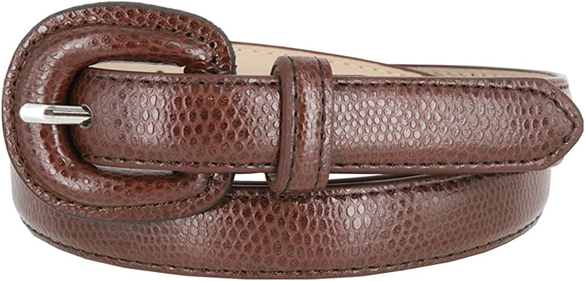 Hagora Womens Real Leather Snake Texture Slim 3//4 Wide Matching Buckle Belt