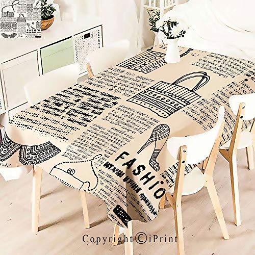 Premium Polyester Printed Tablecloth,Fashion Themed Icons Shoes Handbag Purses, Idle for Grand Events and Regular Home Use, Machine Washable,W55 xL55,Black Cream