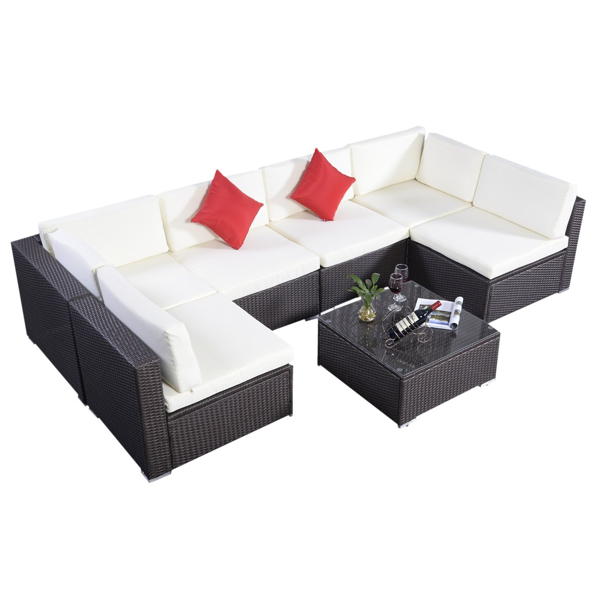 poly rattan lounge gartenm bel sitzgarnitur lounge set gartengarnitur rattan set garnitur dunkel. Black Bedroom Furniture Sets. Home Design Ideas