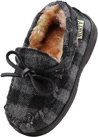 NORTY Toddler//Little Kid//Big Kid Fleece Buffalo Plaid Moccasin Slippers