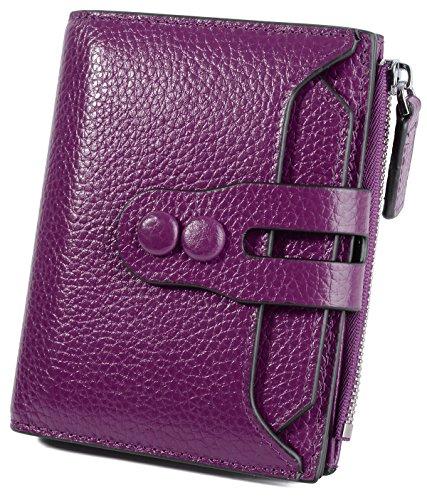 YALUXE Women's RFID Blocking Small Compact Leather Wallet Ladies Mini Purse with ID Window Purple