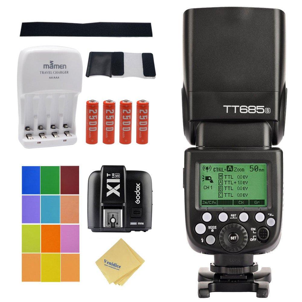Godox TT685S TTL Camera Flash High Speed 1/8000S GN60 for Sony A77II A7RII A7R A58 A99 ILCE6000L RX10 etc+ 2.4G Wireless X1T-S Flash Transmitter + 4 AA Battery & Charger + Venidice Cloth by Godox