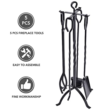 Amazoncom Fireplace Tool Set Heavy Duty 5 Pieces Wrought Iron