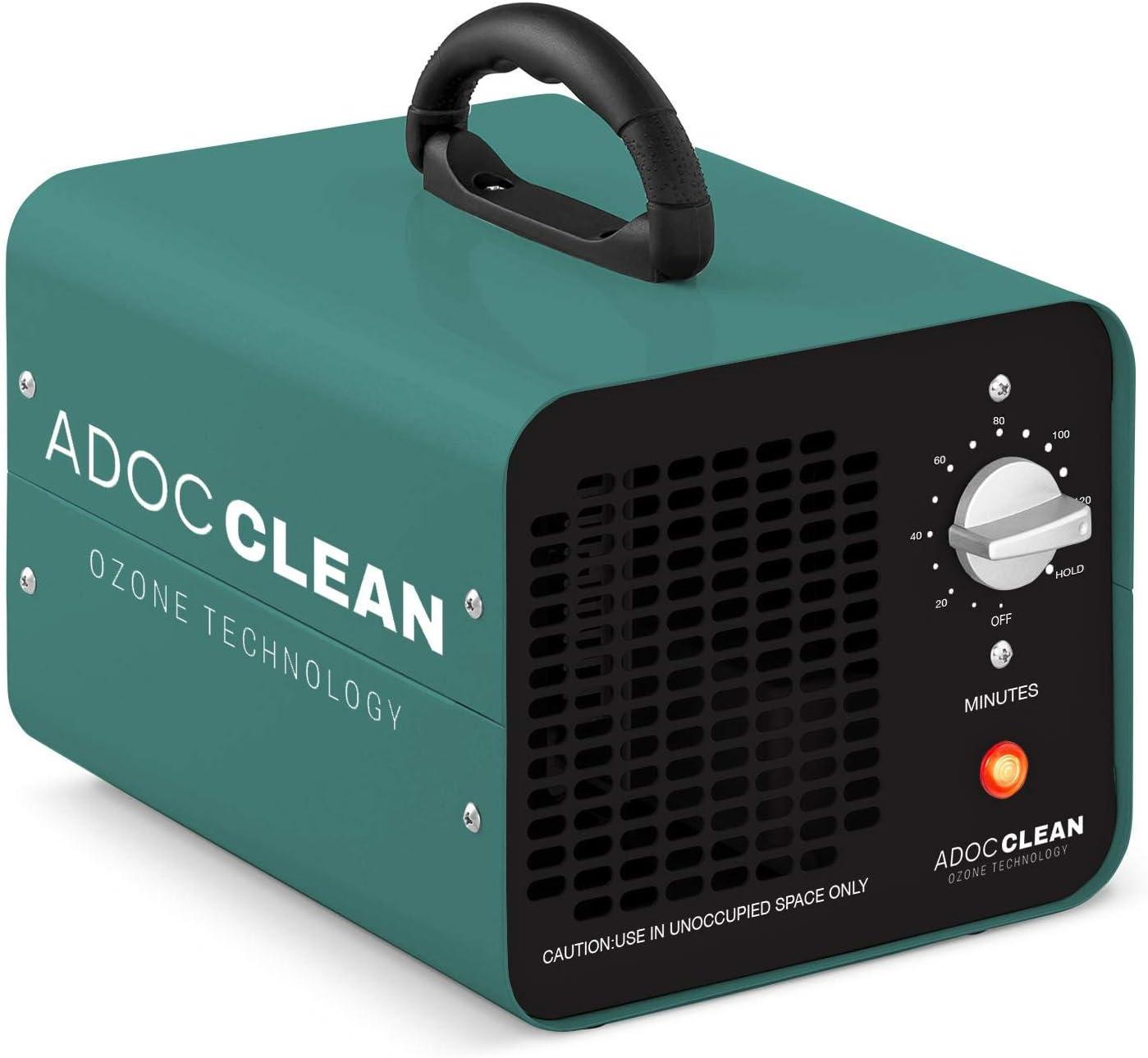 adoc clean ADOC GOZ10 Generador de Ozono para Purificar Aire 10.000 MG/h. Eliminación de Olores, bacterias, ácaros, Virus, etc, 110 W, 220 V, VERDE, Portátil 23,7 x 18 x 17,5 3 kg: Amazon.es: Bricolaje y herramientas