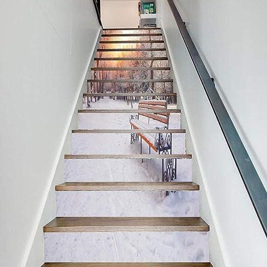 CAI Inicio 3D nieve Bosque Escena Escalera pegatinas Personalidad Corredor Escaleras decorativas pegatinas de pared Tamaño (100 * 18cm * 13pzas): Amazon.es: Bricolaje y herramientas