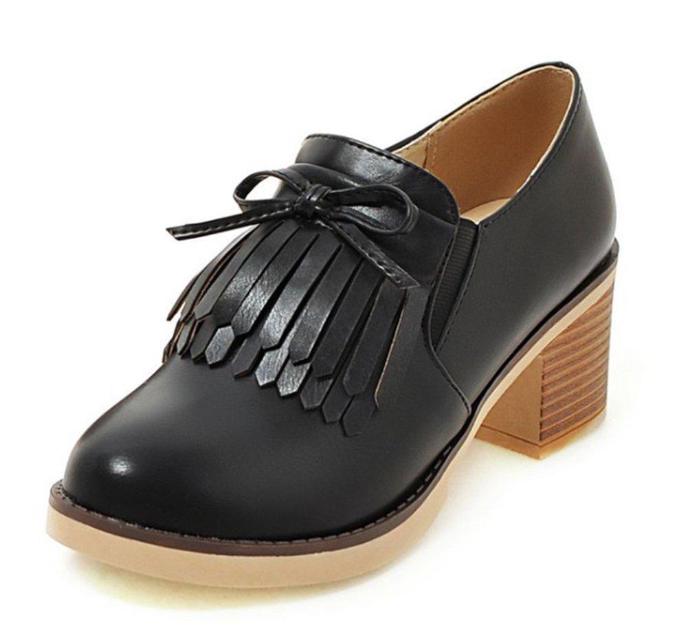 Aisun Women's Unique Fringed Round Toe Dress Stacked Medium Heels Slip On Oxfords Shoes Black 6 B(M) US