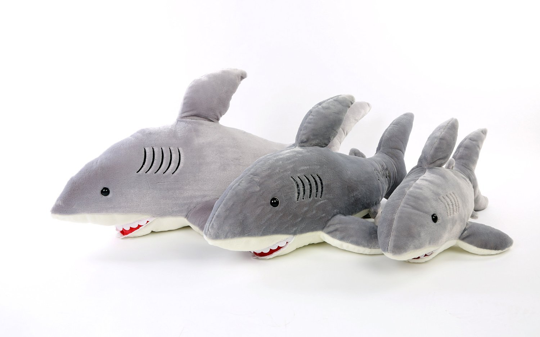 Missley Grey Plush Shark Toys Creative Sharks Doll Pillow Cute Jaws doll Shark stuffed toys pillow (L)