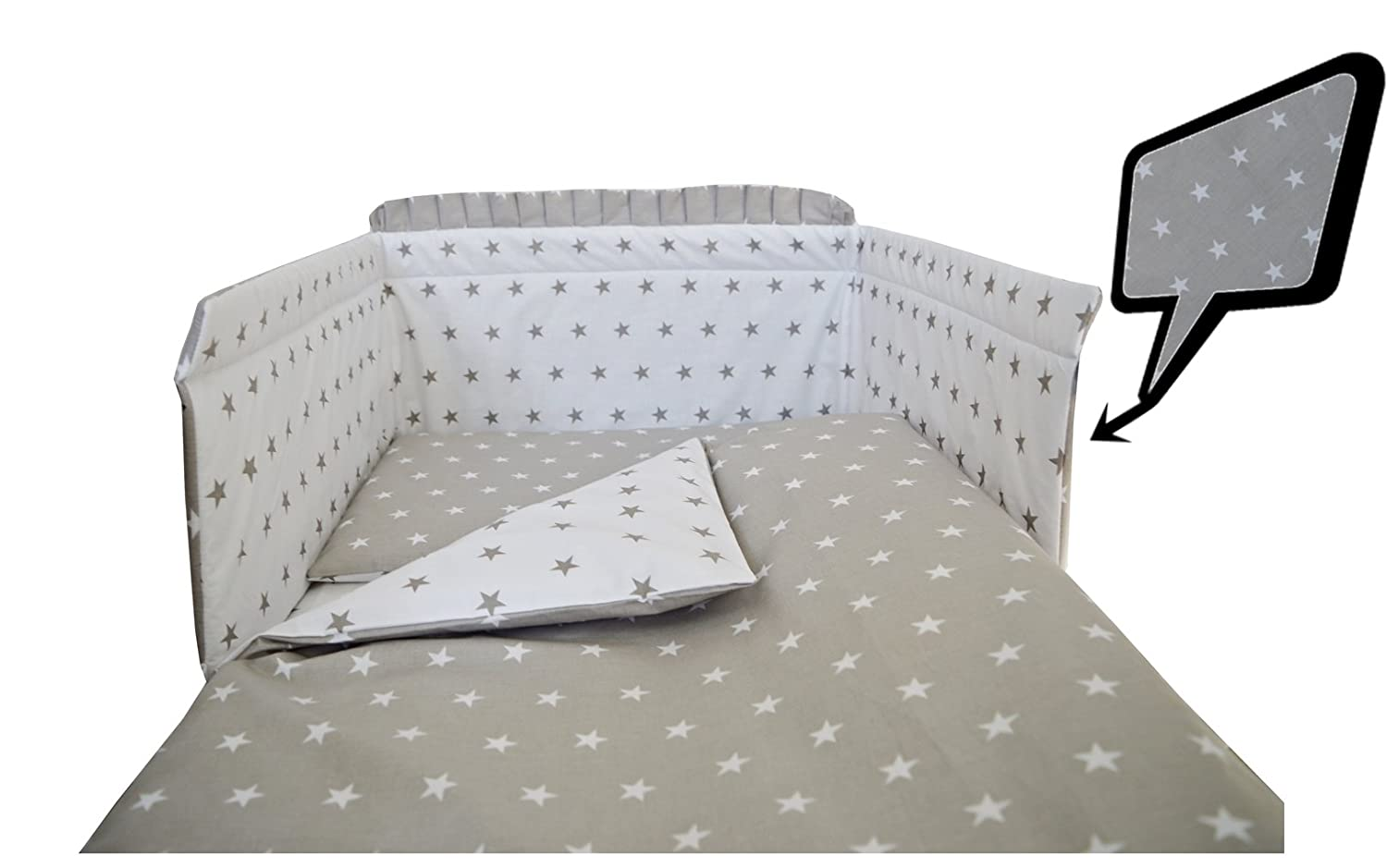 4 Piece Baby Bedding set - inc. Duvet cover + pillow case + bumper + plain fitted sheet Super Soft 100% COTTON Oeko-Tex tested fit COT 120X60 or COT BED140X70 (COT 120X60, BLUE STARS- BLUE - REVERSIBLE DUVET COVER) SCANDI BEDDING LIMITED