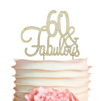 Amazon 60 Fabulous GOLD Birthday Cake Topper