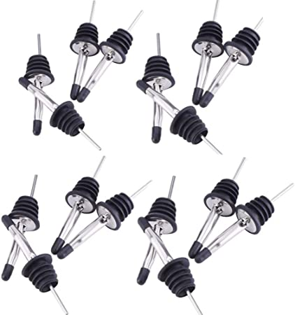 JZK 16 x Stainless steel liquor bottle speed pourer pourers with rubber cap
