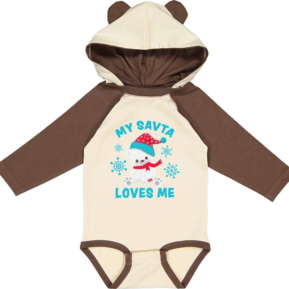 inktastic Polar Bear My SAVTA Loves Me in Santa Hat with Long Sleeve Creeper