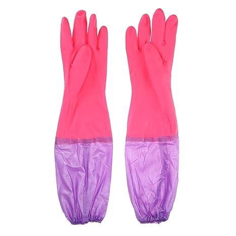 UEETEK 1 par de guantes de acuario con el antebrazo sellado elástico a prueba de fugas ...