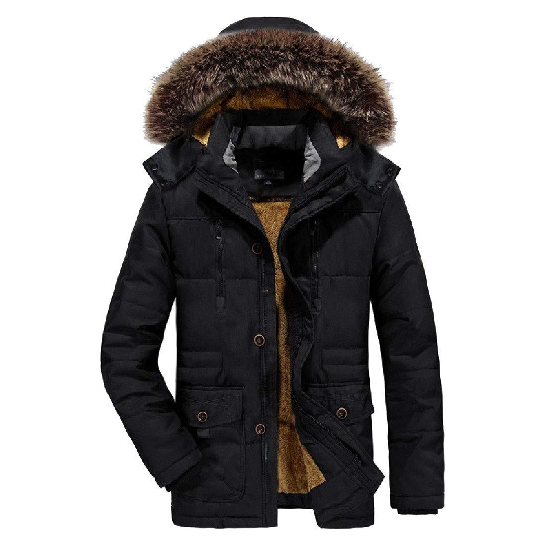 RSunshine Mens Mid Long Faux Fur Hooded Plus-Size Winter Parka Anorak