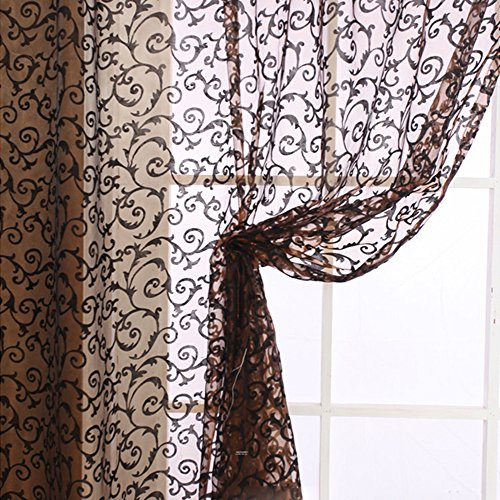 Edal Elegant Floral Tulle Voile Door Window Curtain Drape Panel Sheer Scarf Valances Coffee