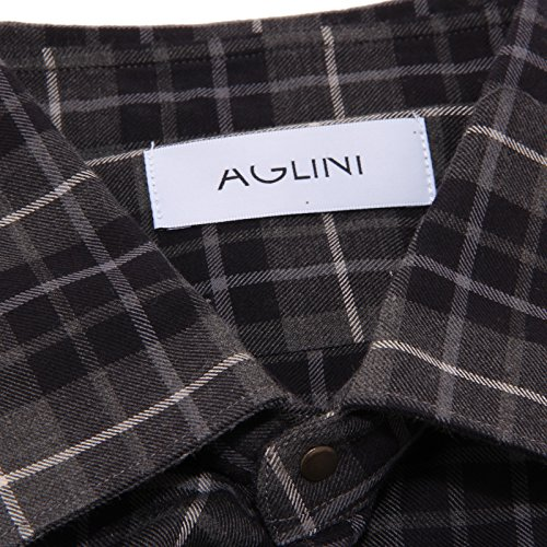 Uomo 8166 Grigio Cami Aglini Lunga Camicia Quadretti Manica Camisa Hombre SW7Hq
