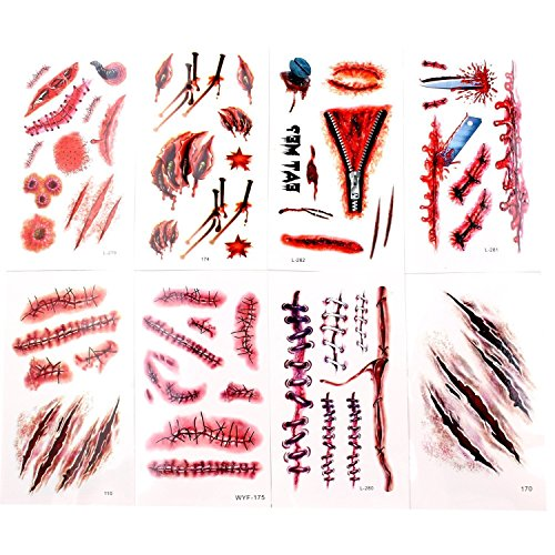 Auony 8 Sheets Halloween Temporary Tattoo,Zombie Scars Vampire Bleeding Wound Scar Makeup Tattoos Stickers Party Cosplay Costume -